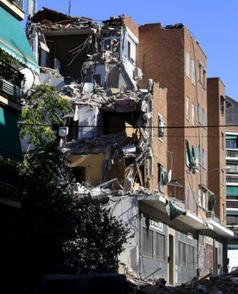 Uno de los edificios que se ha derrumbado recientemente en Madrid.