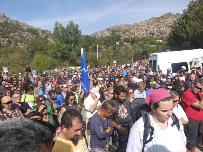 Los manifestantes durante la protesta del sábado.