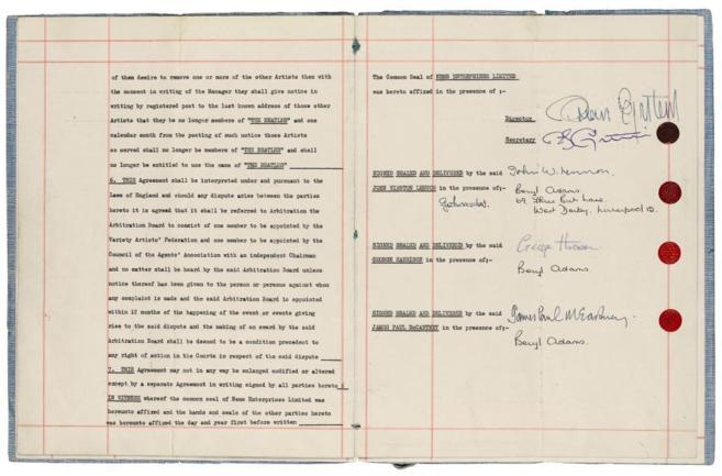 El contrato que lanzó a la fama a The Beatles, a subasta en...
