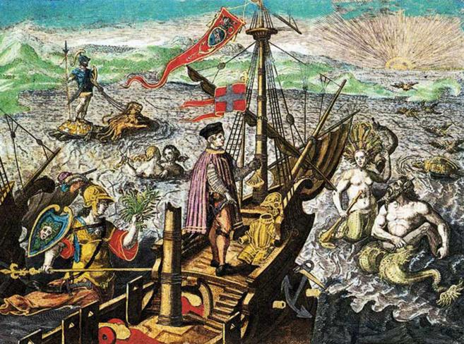 Grabado realizado por Theodor de Bry sobre el segundo viaje de Colón...