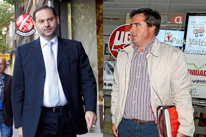 Los diputados socialistas José Luis Ábalos y Herick Campos, en dos...