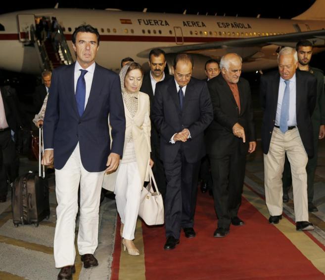 La delegación española, en su llegada a Irán.