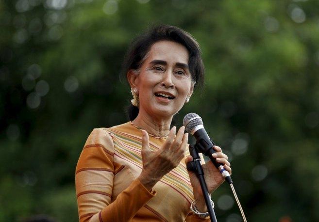 La Premio Nobel de la Paz, Aun San Suu Kyi, durante un evento en la...