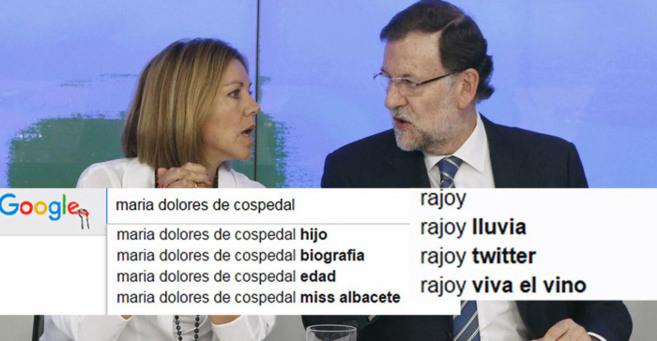 Cospedal y Rajoy, y las sugerencias de Google con sus nombres.