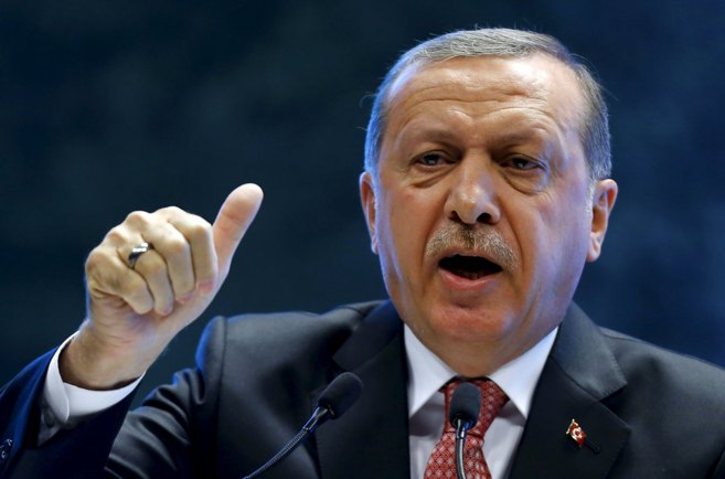 El presidente turco, Recep Tayyip Erdogan, durante una conferencia en...
