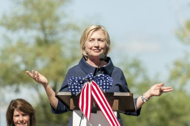 La candidata demócrata a la Casa Blanca, Hillary Clinton, durante un...