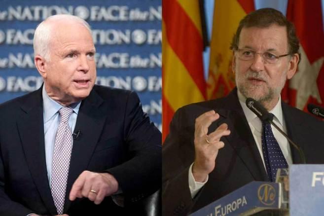 El senador John McCain y el presidente del Gobierno, Mariano Rajoy.