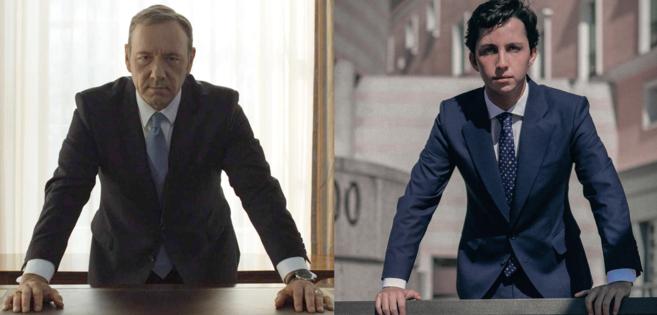 Kevin Spacey caracterizado como Frank Underwood y foto oficial de...