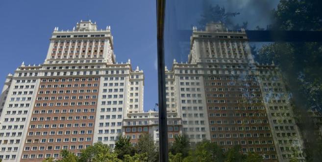 Vista del edificio España, situado en la plaza de España de Madrid.