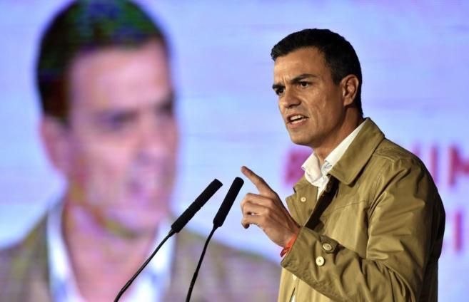 Pedro Sánchez, en Barcelona, en el discurso de inicio de campaña de...