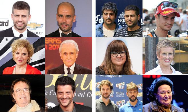 Izquierda, a favor: Gerard Piqué, Pep Guardiola, Pilar Rahola, Josep...