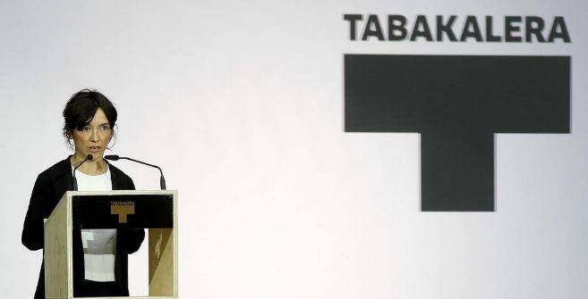 La directora de Tabakalera, Ane Rodríguez, durante la inauguración...