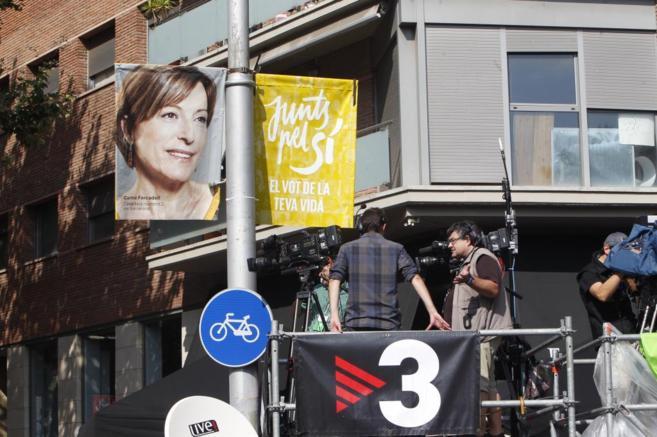 Un equipo de TV3 en la manifestación del 11 de septiembre.