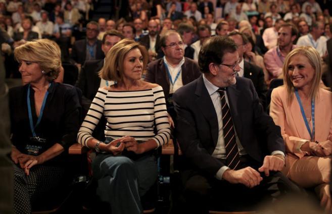 E. Aguirre, M. D.Cospedal, M. Rajoy y C. Cifuentes, en julio, durante...