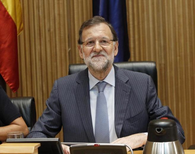 Mariano Rajoy, al inicio de la reunión plenaria del Grupo Popular en...