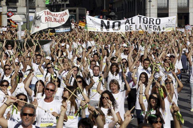 Manifestación contra el Toro de la Vega celebrada el pasado sábado...