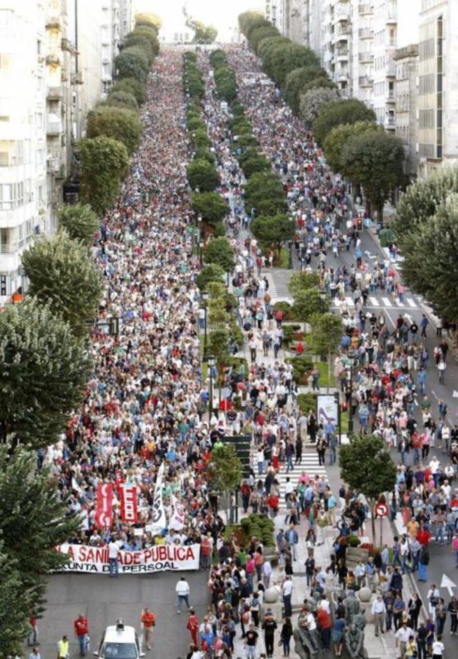 Manifestación en defensa de la sanidad pública.