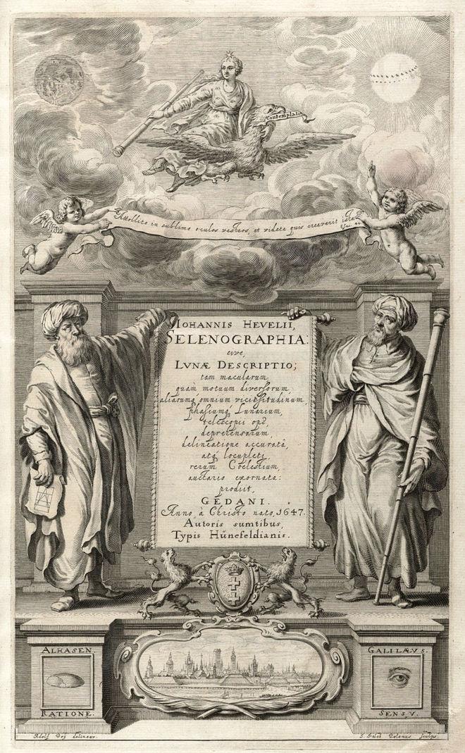 Alhacén y Galileo en la Selenografía de Hevelius.