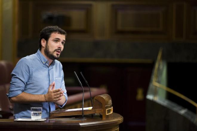 Alberto Garzón, durante un pleno en el Congreso de los Diputados.