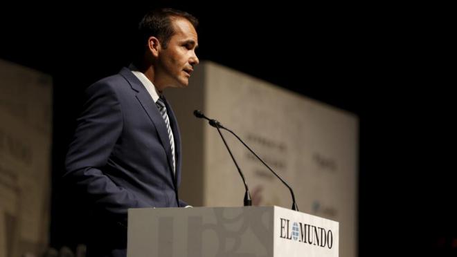 El director de EL MUNDO, David Jiménez, durante su discurso.