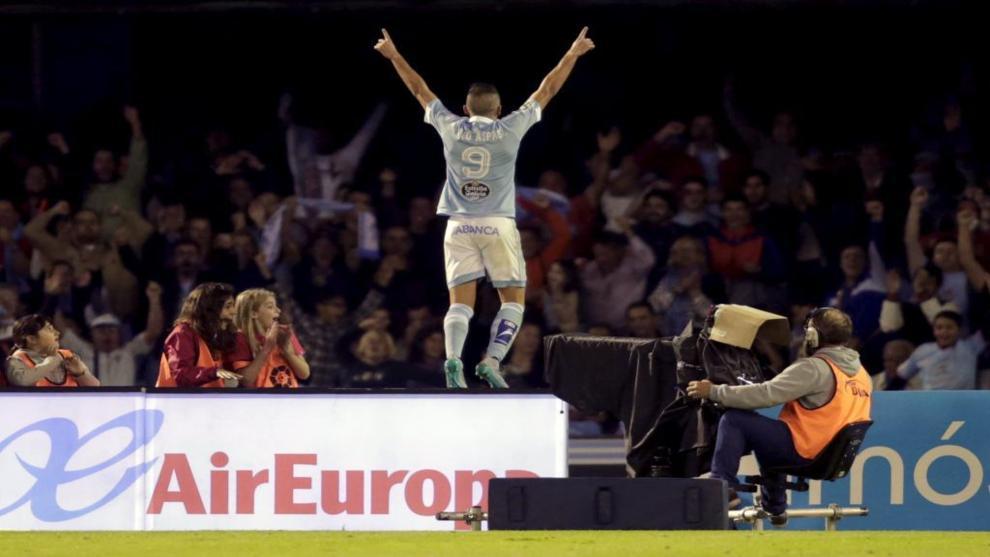 Aspas celebra su segundo gol 58516cbbf2a