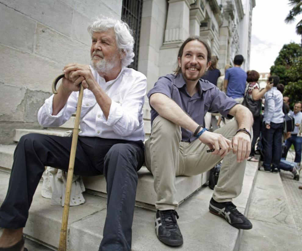 Xosé Manuel Beiras y Pablo Iglesias, juntos el pasado julio en A...