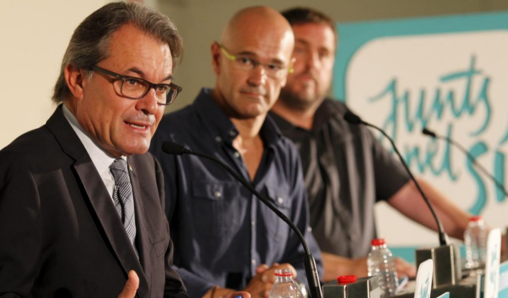 Artur Mas, Raül Romeva y Oriol Junqueras, en un acto de Junts pel...