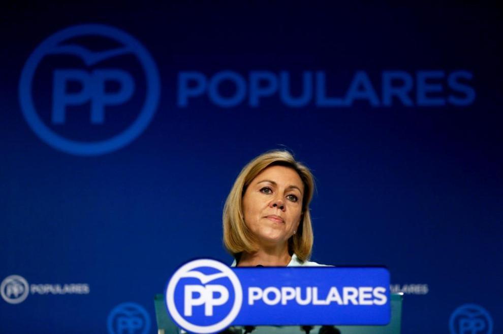 María Dolores de Cospedal, hoy en la sede del partido.