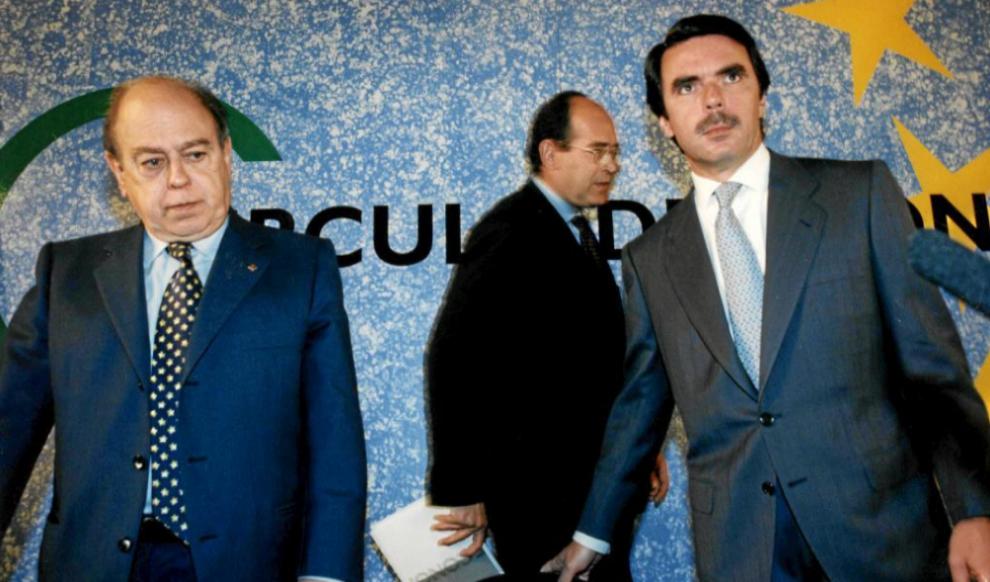 Jordi Pujol y José María Aznar, en una presentación económica en...