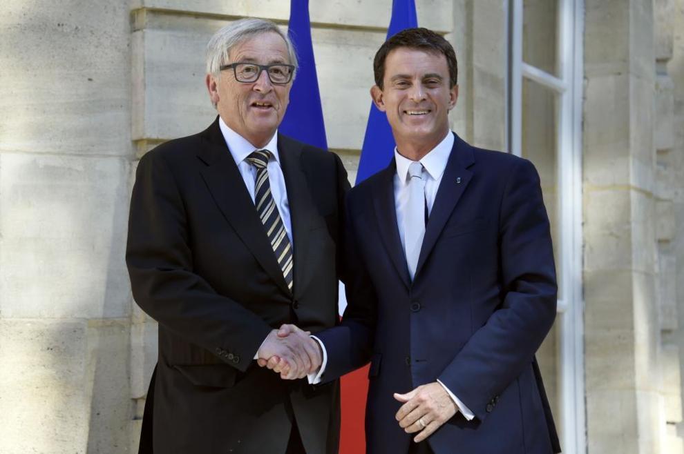 Manuel Valls y Jean-Claude Juncker, hoy en París.
