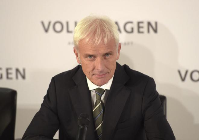 El nuevo presidente de Volkswagen, Matthias Müller, en una rueda de...