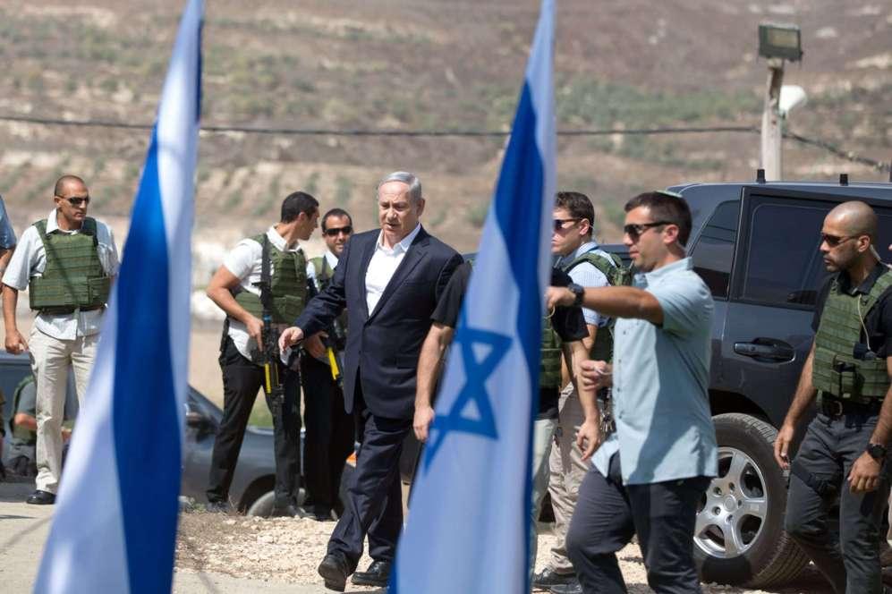 El primer ministro israelí, Benjamin Netanyahu, de visita en el...