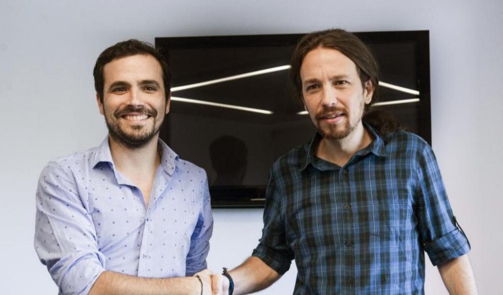 Alberto Garzón y Pablo Iglesias, durante una reunión celebrada el...