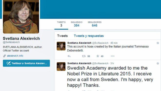 Captura de la cuenta falsa de Twitter de Svetlana Alexievich.