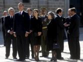Los Reyes, ayer en el funeral de El Escorial.