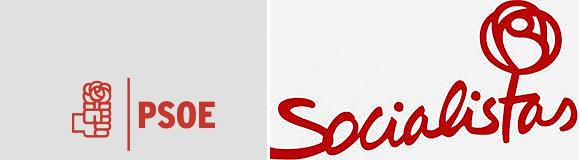 A la izquierda, el logotipo recuperado por el PSOE, frente a uno de...