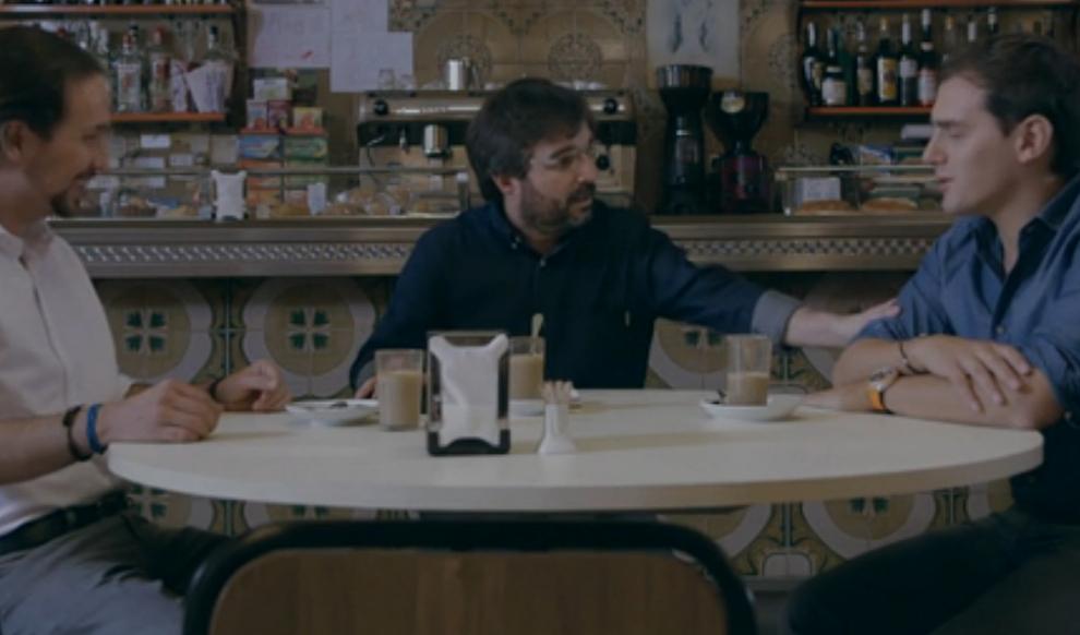 Pablo Iglesias, Jordi Évole y Albert Rivera, en un momento del...