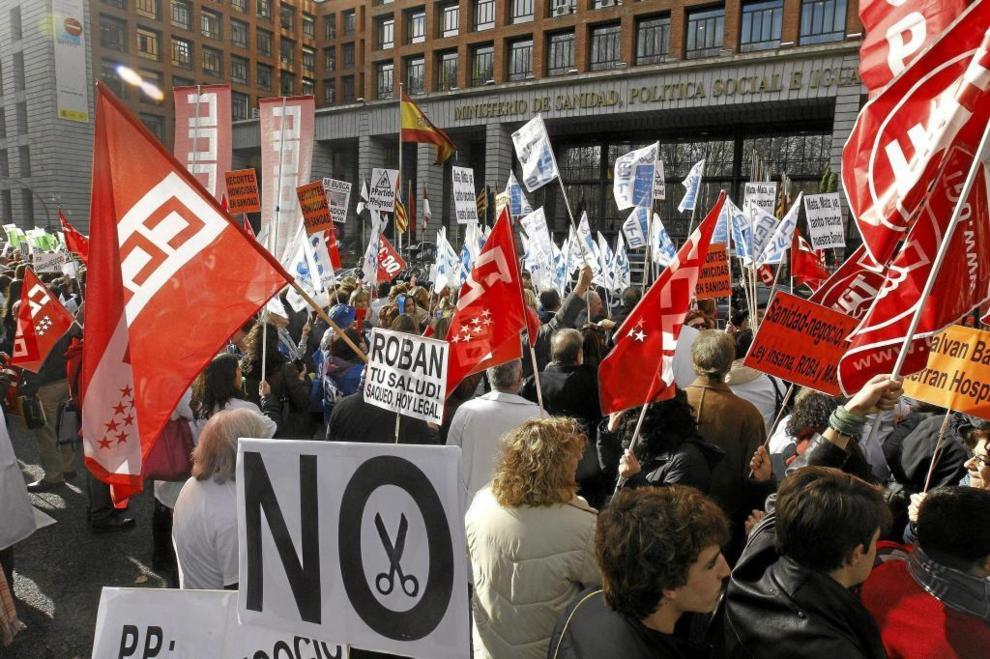 Manifestación de sindicatos sanitarios en 2012.