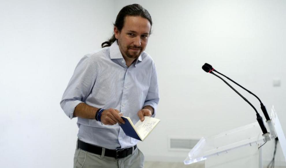 Pablo Iglesias, en rueda de prensa en la sede de Podemos.