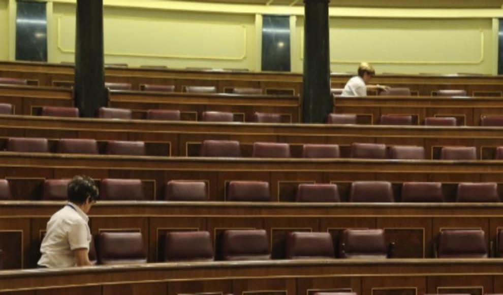 El Hemiciclo del Congreso, ayer, vacío tras la celebración del...