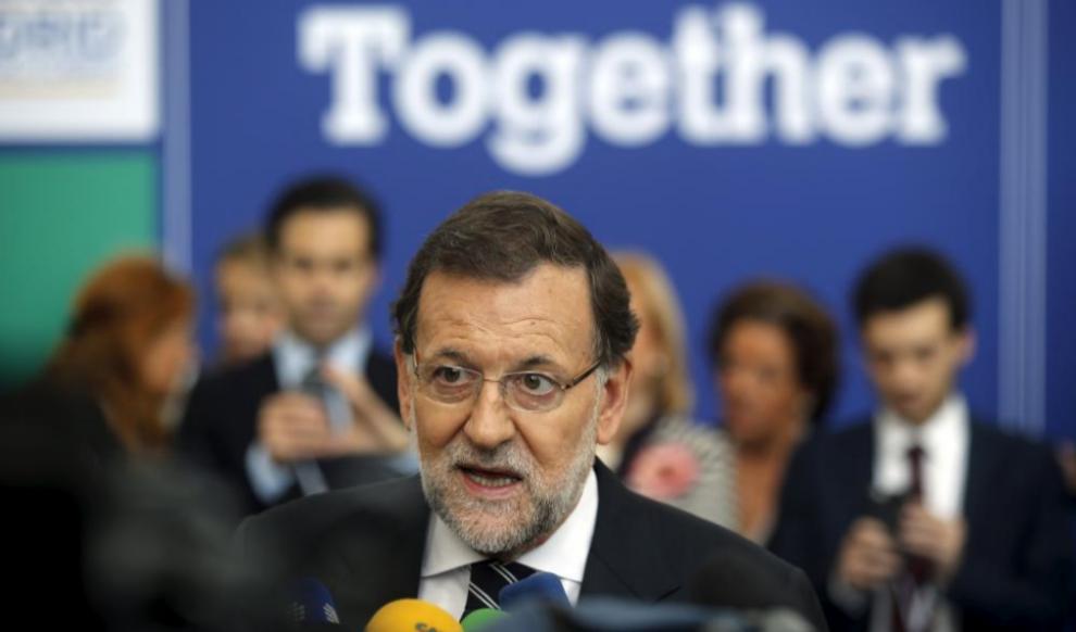 Mariano Rajoy, a su llegada al congreso del Partido Popular Europeo.