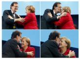 Varios momentos del saludo entre la canciller alemana y el presidente...