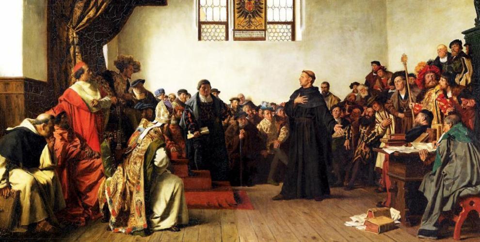 Lutero y Carlos V, en la Dieta de Worms