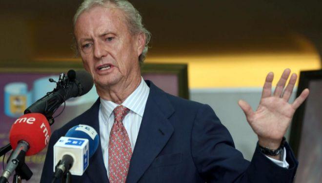 El ministro de Defensa, Pedro Morenés, durante la rueda de prensa del...