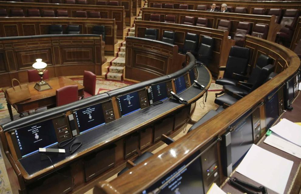 El escaño del presidente del Gobierno tras la última sesión de...