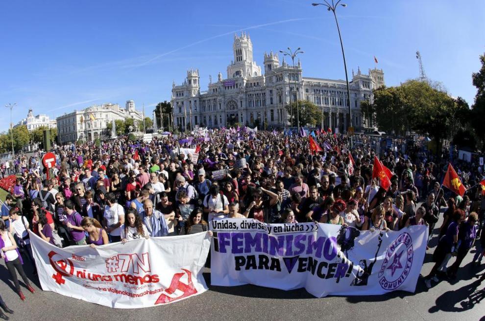 Manifestación en contra de la violencia machista en Madrid.