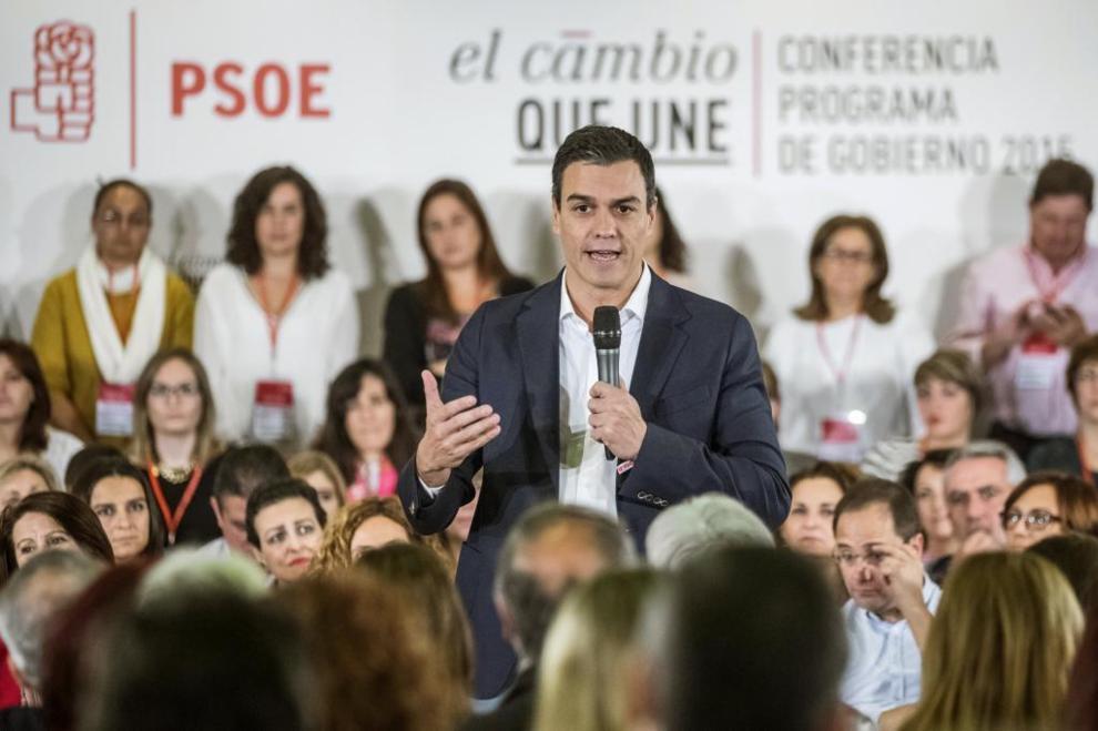 Pedro Sánchez, durante su intervención en Madrid.