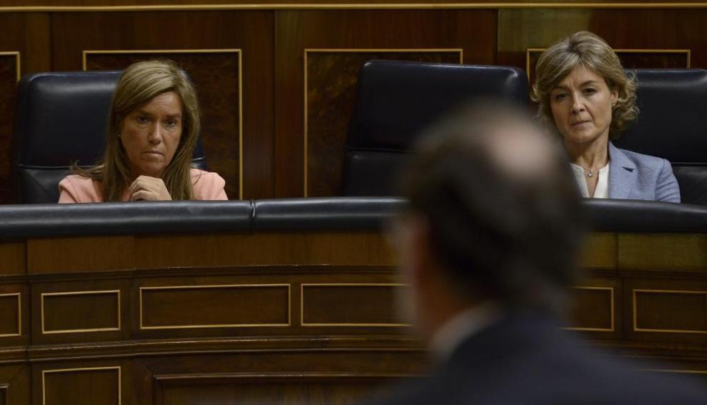 Mariano Rajoy, Ana Mato e Isabel García Tejerina, en el Congreso en...