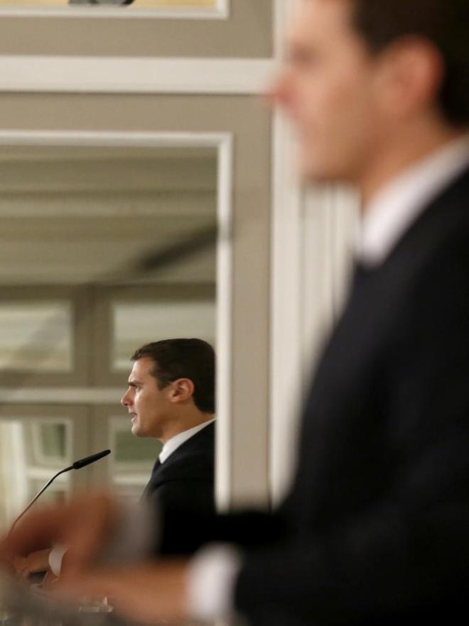 Albert Rivera, líder de Ciudadanos, durante un desayuno informativo...