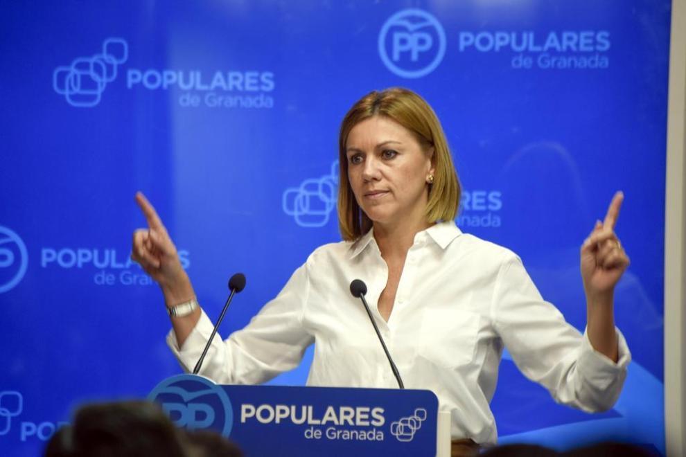 María Dolores de Cospedal, en un momento de su intervención en...